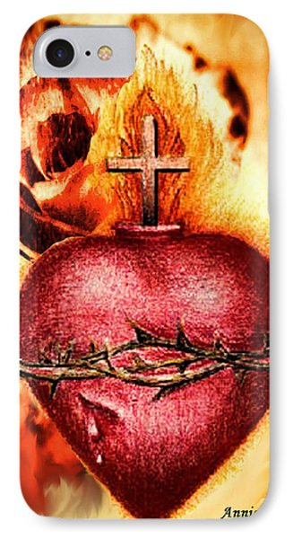 Sacred Heart Of Jesus Christ With Rose IPhone Case