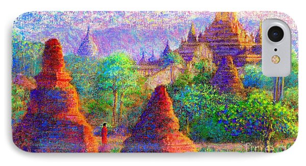 IPhone Case featuring the painting Bagan, Burma, Sacred Spires by Jane Small