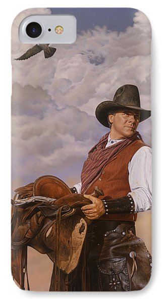 IPhone Case featuring the painting Saddle 'em Up by Ron Crabb
