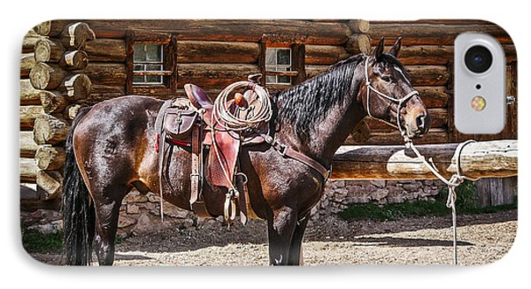 Saddled And Waiting Phone Case by Sue Smith