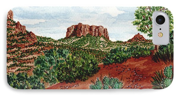 IPhone Case featuring the painting Sadona Two Mountains by Val Miller
