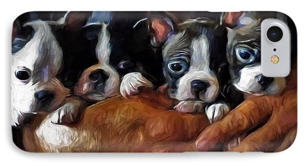 Safe In The Arms Of Love - Puppy Art IPhone Case by Jordan Blackstone