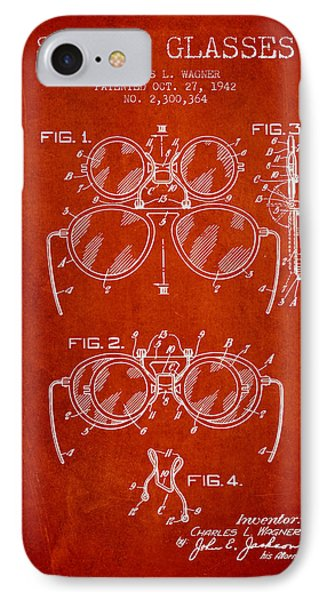 Safety Glasses Patent From 1942 - Red IPhone Case by Aged Pixel