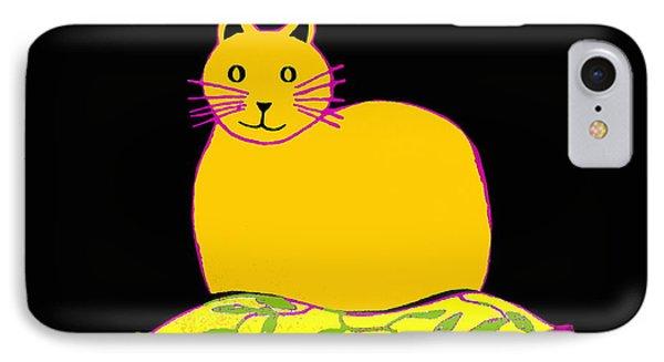 Saffron Cat On Black IPhone Case by Barbara Moignard