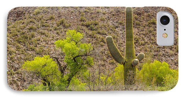IPhone Case featuring the photograph Saguaro And Cottonwood by Beverly Parks