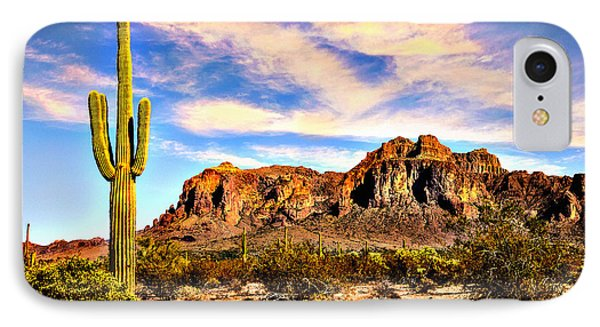 Saguaro Superstition Mountains Arizona IPhone Case by Bob and Nadine Johnston