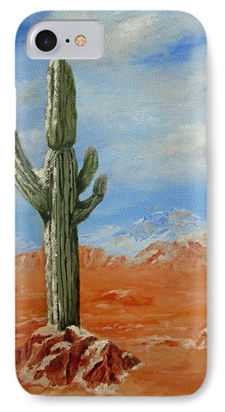 IPhone Case featuring the painting Saguaro In Snow by Roseann Gilmore
