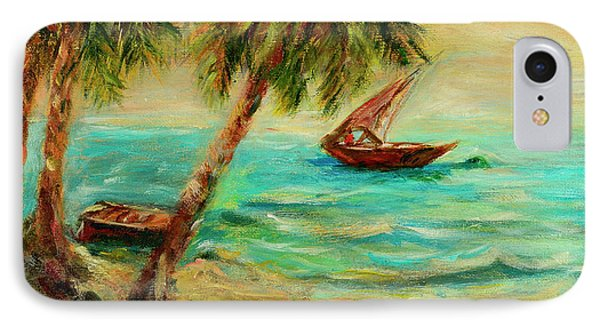 IPhone Case featuring the painting Sail Boats On Indian Ocean  by Sher Nasser