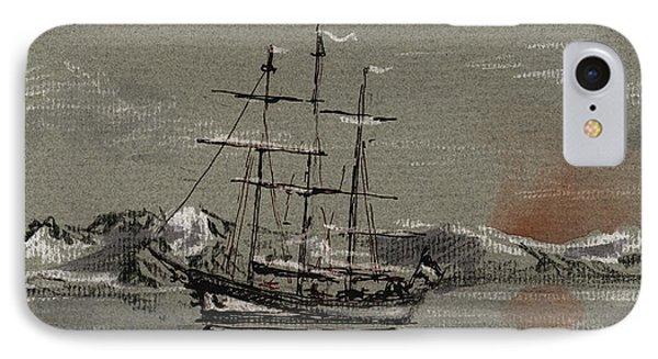Sail Ship At The Arctic IPhone Case by Juan  Bosco