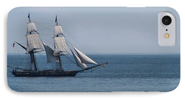 Sail Ship On The Straits Of Mackinac IPhone Case by Dan Sproul