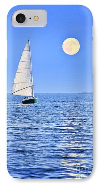 Boat iPhone 7 Case - Sailboat At Full Moon by Elena Elisseeva