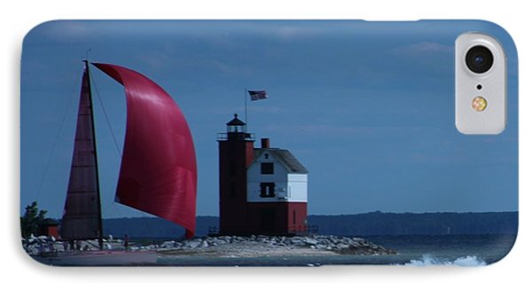 IPhone Case featuring the photograph Sailboat Crossing Finish Line by Bill Woodstock
