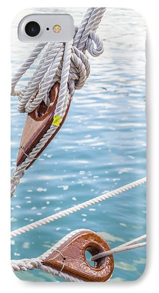 IPhone Case featuring the photograph Sailboat Deadeyes 1 by Leigh Anne Meeks