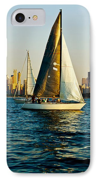 Sailboat In A Lake, Lake Michigan IPhone Case by Panoramic Images