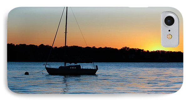 IPhone Case featuring the photograph Sailboat Moored At Sunset by Ann Murphy