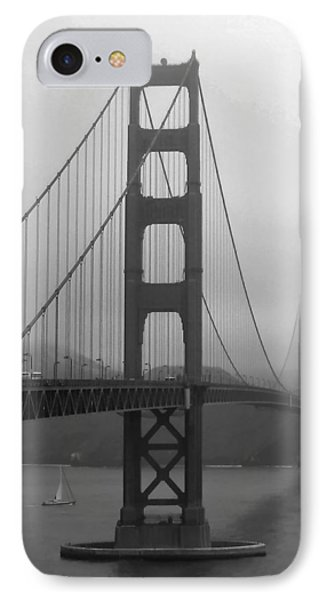 Sailboat Passing Under Golden Gate Bridge IPhone Case by Connie Fox