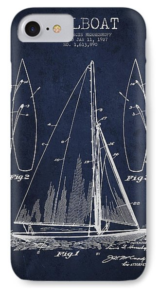 Boat iPhone 7 Case - Sailboat Patent Drawing From 1927 by Aged Pixel