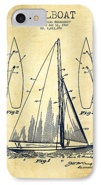 Sailboat Patent Drawing From 1927 - Vintage IPhone Case