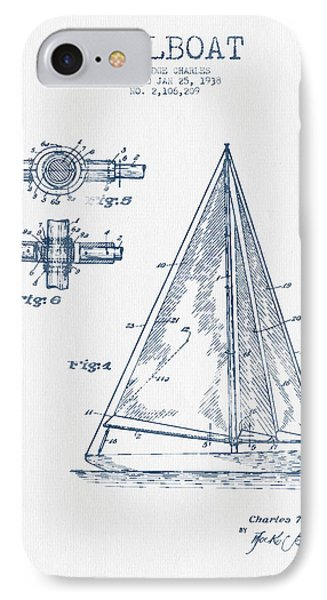 Sailboat Patent Drawing From 1938  -  Blue Ink IPhone Case