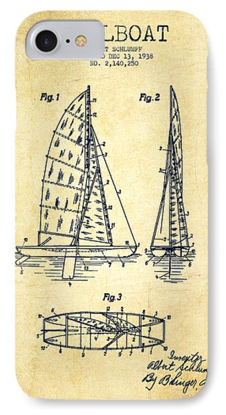 Sailboat Patent Drawing From 1938 - Vintage IPhone Case