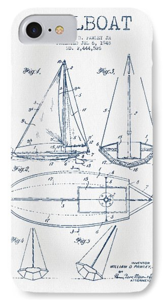 Sailboat Patent Drawing From 1948  -  Blue Ink IPhone Case