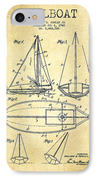 Sailboat Patent Drawing From 1948 - Vintage IPhone Case