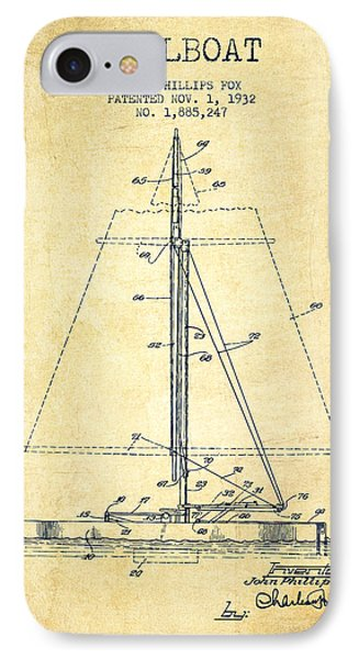 Sailboat Patent From 1932 - Vintage IPhone Case