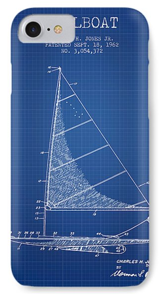 Sailboat Patent From 1962 - Blueprint IPhone Case by Aged Pixel