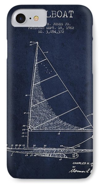 Sailboat Patent From 1962 - Navy Blue IPhone Case