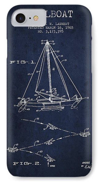 Sailboat Patent From 1965 - Navy Blue IPhone Case