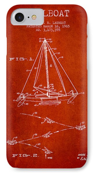 Sailboat Patent From 1965 - Red IPhone Case