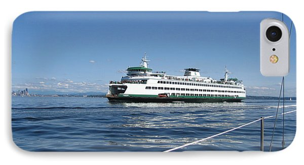 Sailboat Sees Ferryboat Phone Case by Kym Backland