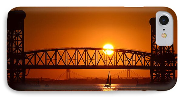 Sailboat Under Marine Park Bridge IPhone Case by Maureen E Ritter
