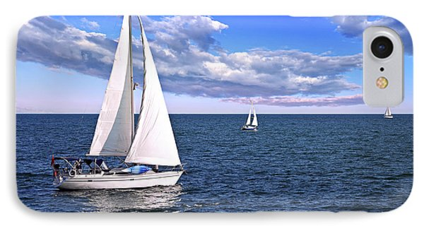 Sailboats At Sea Phone Case by Elena Elisseeva