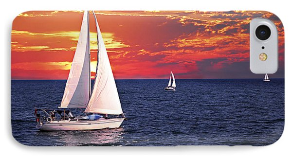 Sailboats At Sunset IPhone Case