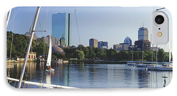 Sailboats In A River With City IPhone Case by Panoramic Images