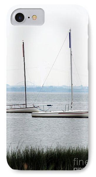 Sailboats In Battery Park Harbor IPhone Case by David Jackson