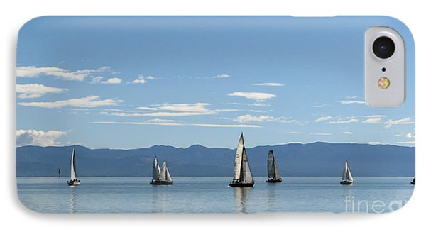IPhone Case featuring the photograph Sailboats In Blue by Jola Martysz