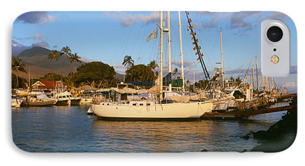 Sailboats In The Bay, Lahaina Harbor IPhone Case by Panoramic Images