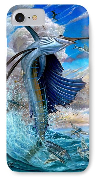Sailfish And Flying Fish Phone Case by Terry Fox