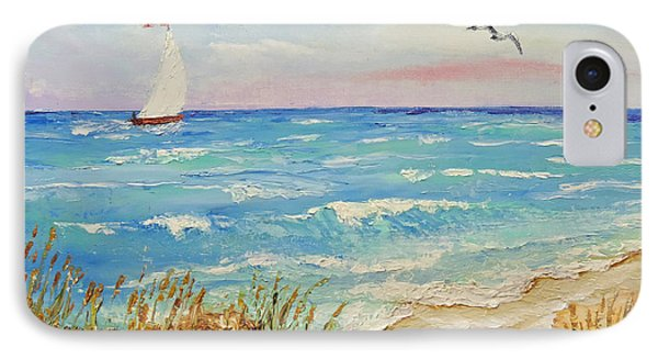 IPhone Case featuring the painting Sailing By The Beach by Jimmie Bartlett