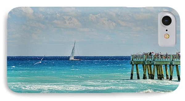 Sailing By The Pier IPhone Case by Don Durfee