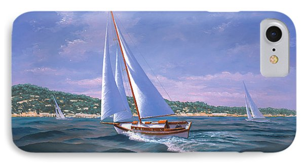 Sailing On Monterey Bay IPhone Case by Del Malonee