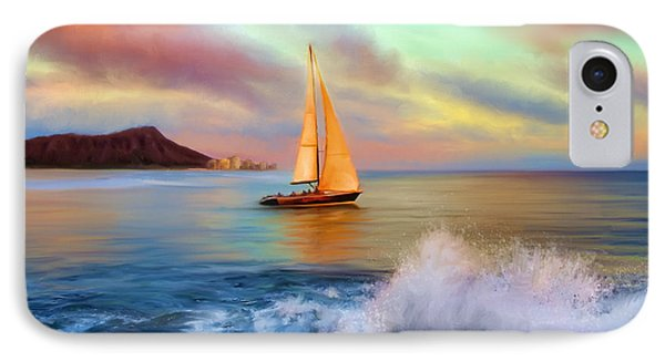 Sailing Past Waikiki IPhone Case
