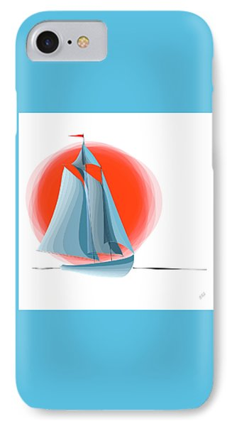 Sailing Red Sun Phone Case by Ben and Raisa Gertsberg