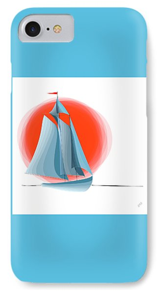 Sailing Red Sun IPhone Case