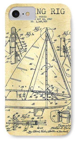 Sailing Rig Patent Drawing From 1967 - Vintage IPhone Case