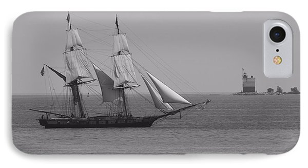 Sailing Ship And Lighthouse IPhone Case by Dan Sproul