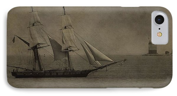 Sailing Ship And Round Island Light IPhone Case by Dan Sproul