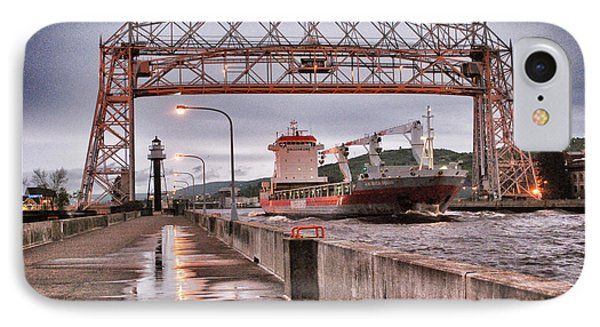 Sailing Through The Duluth Aerial Lift Bridge IPhone Case by Mark David Zahn